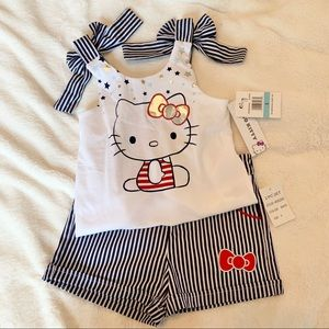 🆕 NWT Girls Hello Kitty Americana Shorts Set